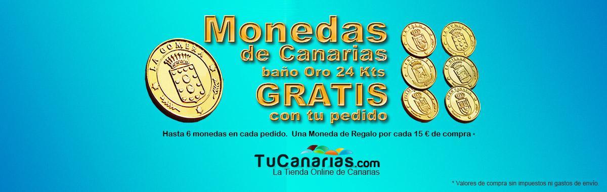 Regalos TuCanarias.com - hasta 6 monedas diferentes de las Islas Canarias bañadas en oro de 24 kts por cada pedido.