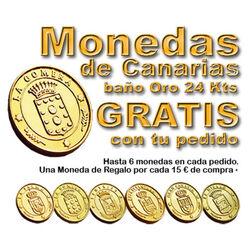 * REGALO * Monedas Canarias bañadas Oro 24 Kt. 1 por cada 15 euros de compra